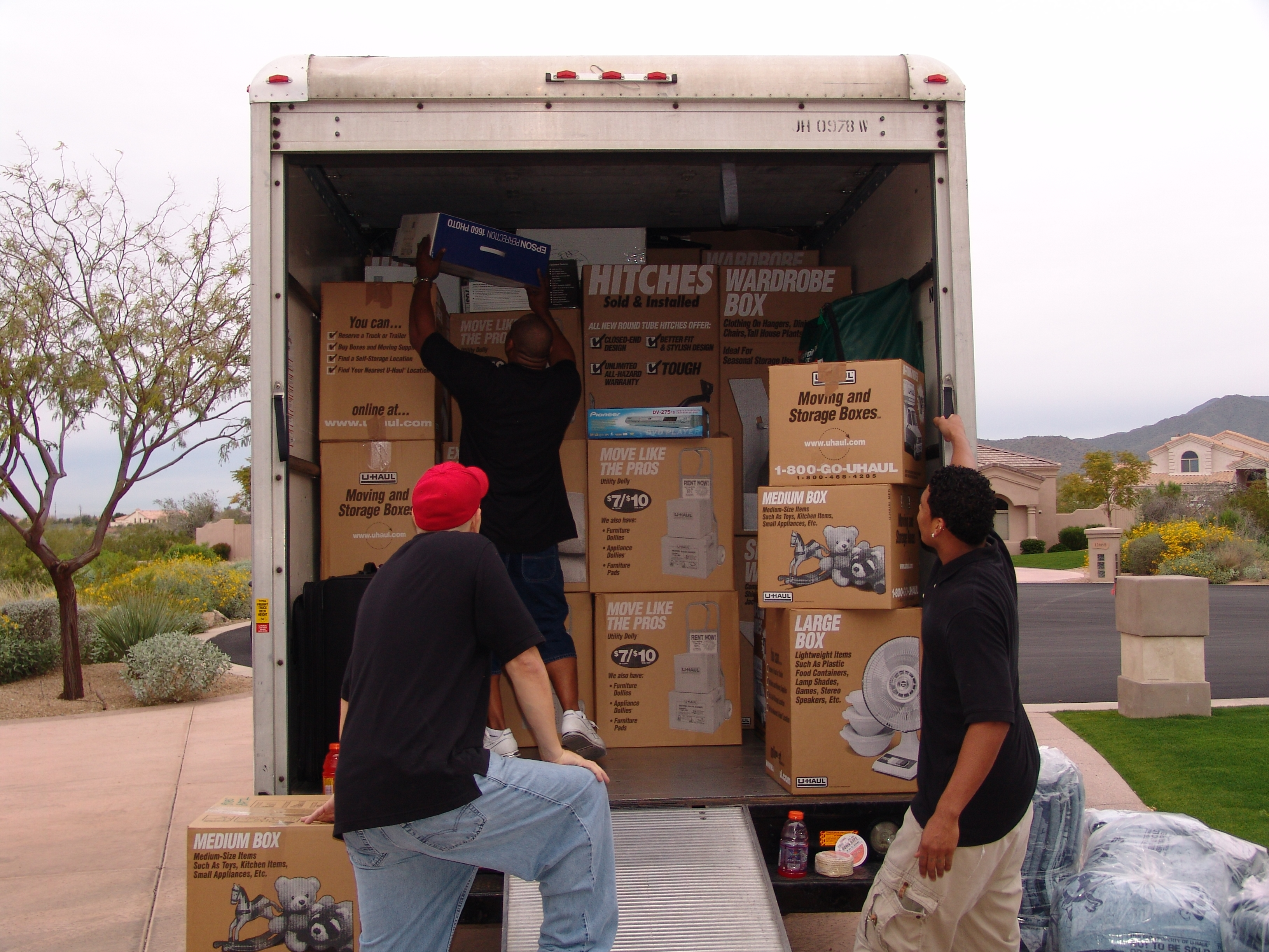Movers loading a rental truck