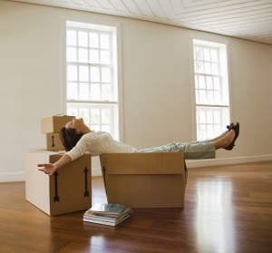 An example of what not to do - Don't sit in your box while you still have more to unpack.