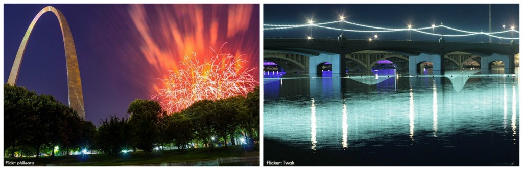 Fireworks at Gateway Arch and Tempe Town Lake