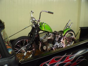 HD panhead secured in the back of a Chevrolet truck