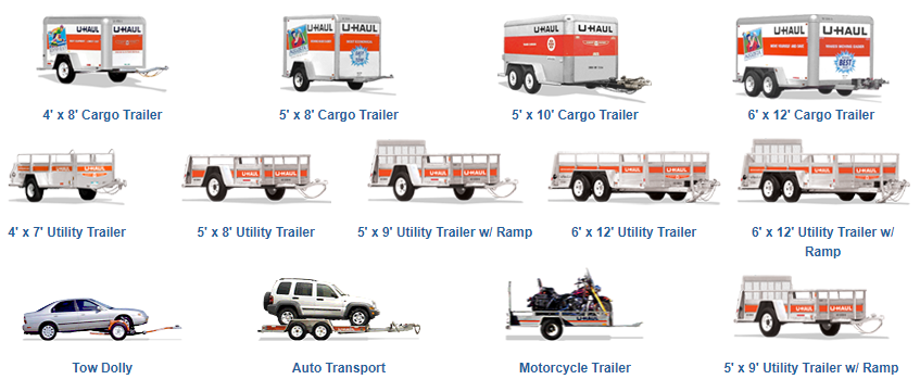 list of moving day equipment including trailers and auto dollies