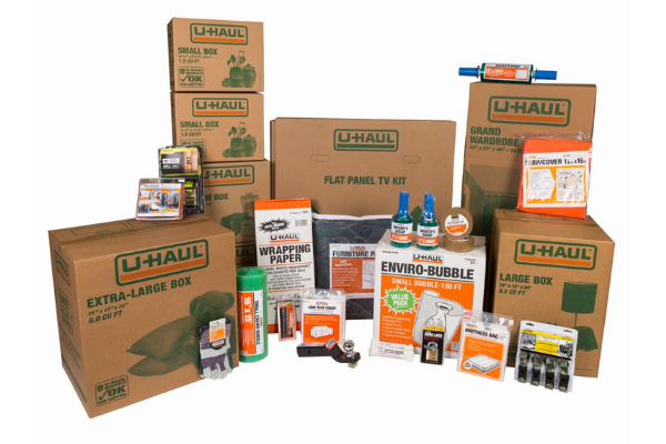 A photo of recommended packing and moving supplies
