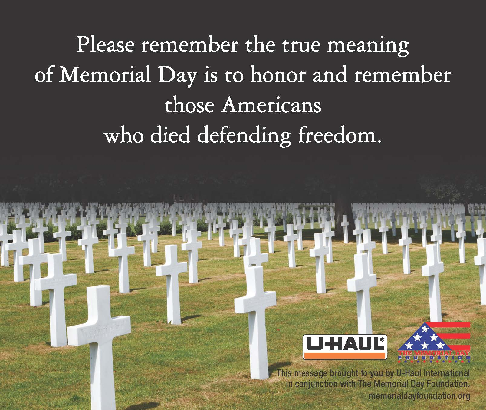 U Haul About The True Meaning Of Memorial Day