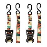 SLine By Ancra 15' HeavyDuty Camo Ratchet TieDowns with Extended ShortEnd & Webbing Keeper